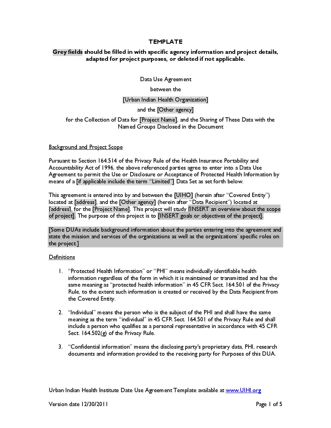 Data Use Agreement Template The Urban Indian Health Institute